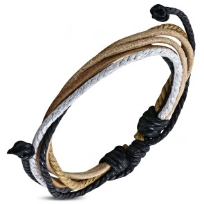 Fashion Multi Color Wrap Rope Adjustable Brown Leather Bracelet