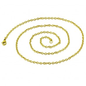 L55cm W2mm | Gold Color Plated Stainless Steel Lobster Claw Clasp Grooved Oval Link Chain