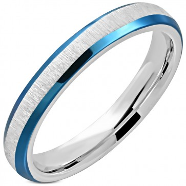 3mm | Stainless Steel Satin Finished 2-tone Beveled Edge Comfort FIt Half-Round Wedding Band Ring