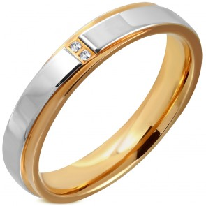4.5mm | Stainless Steel 2-tone Pave-Set Comfort Fit Wedding Flat Band Ring w/ Clear CZ