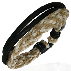 Fashion Multi Wrap Rope Braided Adjustable Black Leather Bracelet