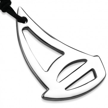 Stainless Steel Sail Boat Charm Pendant Adjustable Black String Cord Necklace