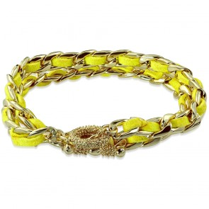 Fashion Alloy Gold Color Plated Yellow Velvet Double Wrap Chain Toggle Bracelet