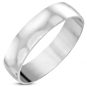 5mm | Stainless Steel Engravable Half-Round Wedding Band Ring