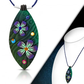 Fashion Fimo/ Polymer Clay Flower Long Oval Charm Necklace w/ Clear & Colorful CZ