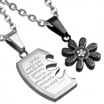 Stainless Steel 2-tone 2-Part Affirmation Love Sun Flower Tag Jigsaw Couple Pendant w/ Clear