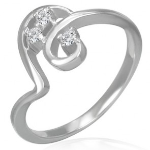 Stainless Steel Prong-Set Round Sirena Fancy Ring w/ Clear CZ