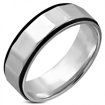 7mm | Stainless Steel 2­-tone Faceted Comfort Fit Wedding Flat Band Ring