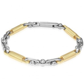 Stainless Steel 2-tone Shifting Coil Link Tube Clasp Lock Bracelet
