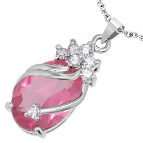 Fashion Alloy Crystal Flower Vine Oval Charm Pendant w/ Clear & Pink CZ