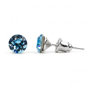 Round Stainless Steel Stud Earrings w/ Light Blue Swarovski® Elements Crystals