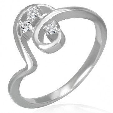 Stainless Steel Prong­-Set Round Sirena Fancy Ring w/ Clear CZ