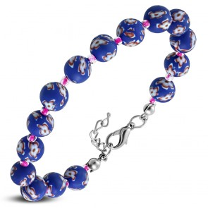 Fashion Alloy Fimo/ Polymer Clay Pink Flower Navy Blue Circle Bead Link Bracelet