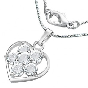 Fashion Alloy Crystal Flower Open Love Heart Charm Chain Necklace w/ Clear CZ