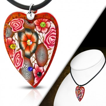 Fashion Fimo/ Polymer Clay Rose Flower Love Heart Charm Necklace w/ Colorful CZ