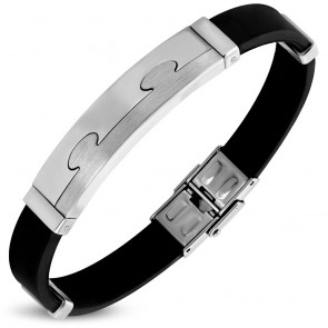 Black Rubber Bracelet w/ Stainless Steel 2-tone Jigsaw Watch-Style
