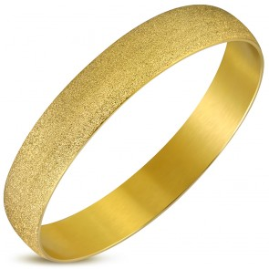 DIA-65mm W-12mm | Gold Color Plated Stainless Steel Sandblasted Wide Round Bangle