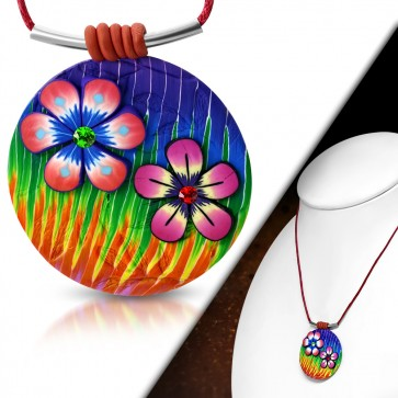 Fashion Fimo/ Polymer Clay Flower Circle Charm Necklace w/ Colorful CZ