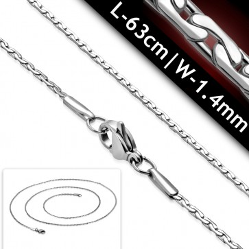 L-63cm W-1.4m | Stainless Steel Lobster Claw Clasp Fancy Oval Link Chain