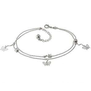 Fashion Alloy Filigree Butterfly Jingle Bell Charm Double Strand Bracelet/ Anklet w/ Extender Chain