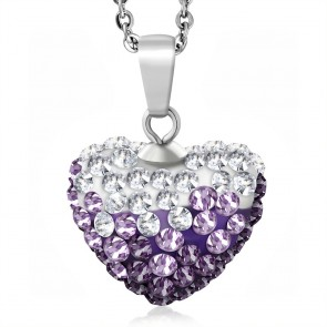 Stainless Steel Love Heart Shamballa Charm Chain Necklace w/ Clear & Light Purple/ Violet CZ