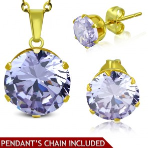 Gold Color Plated Stainless Steel Prong-Set Round Circle Charm Chain Necklace & Pair of Stud Earrings w/ Light Purple/ Violet CZ (SET)