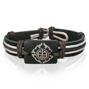 Fashion Rope Balck Leather & Bone Tribal Design WatchStyle Bracelet