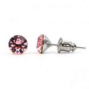 Round Stainless Steel Stud Earrings w/ Light Rose Swarovski® Elements Crystals