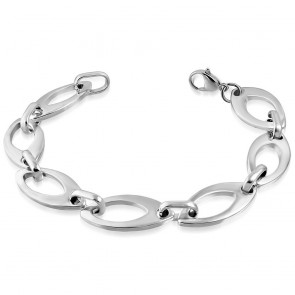 Stainless Steel Lobster Claw Clasp Closure Oval Link Bracelet