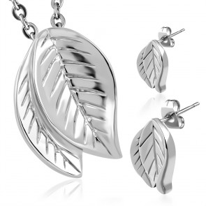 Stainless Steel Double Bodhi Leaf Charm Pendant & Pair of Stud Earrings (SET)