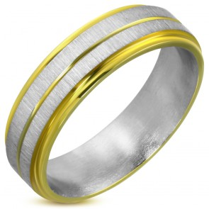 6mm | Stainless Steel Satin Finished 2-tone Grooved Striped Step Edge Flat Band Ring