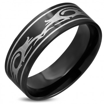 8mm | Black Stainless Steel 2­-tone Tribal Design Comfort Fit Flat Band Ring ­