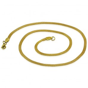 L46cm W3mm | Gold Color Plated Stainless Steel Lobster Claw Clasp Flat Mesh Link Chain