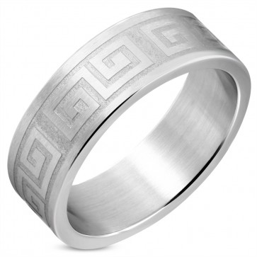 8mm | Stainless Steel Matte Finished Greek Key Flat Band Ring
