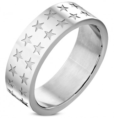 8mm | Stainless Steel Pentagram Star Wedding Flat Band Ring
