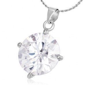 Fashion Alloy Round Circle Charm Chain Necklace w/ Clear CZ