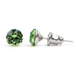 Round Stainless Steel Stud Earrings w/ Green Swarovski® Elements Crystals