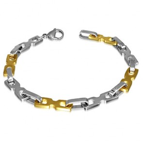 Stainless Steel Lobster Claw Clasp Closure 2-tone Bow Ribbon Fancy Oval Link Chain Bracelet