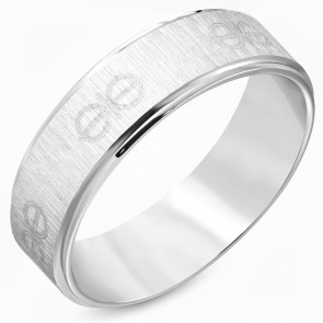 7mm | Stainless Steel Satin Finished Logo Comfort Fit Flat Band Ring