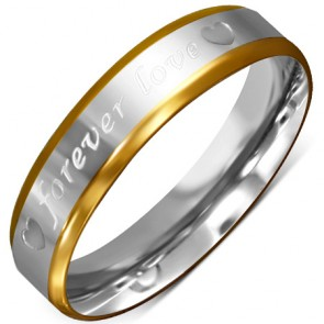 5mm | Stainless Steel 2-tone Forever Love Heart Comfort Fit Half-Round Wedding Band Ring