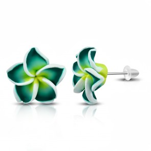 16mm Fashion Fimo/ Polymer Clay Plumeria Flower Stud Earrings (pair)