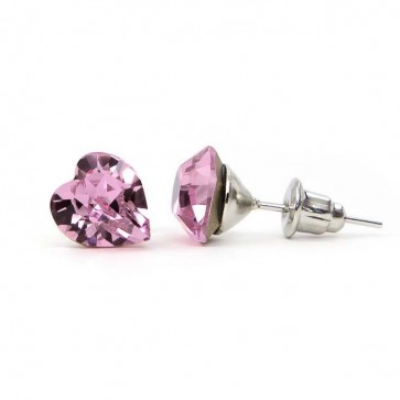 Hearth Stainless Steel Stud Earrings w/ Jazzy Light Pink Swarovski® Elements Crystals