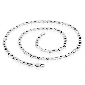 L60.5cm W5mm | Stainless Steel Lobster Claw Clasp Cut-out Flower Flat Oval Tag Link Chain