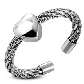 Stainless Steel Love Heart Celtic Twisted Cable Wire Free Size Ring