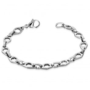 Stainless Steel Lobster Claw Clasp Closure Cut-out Hexagon Oval Link Bracelet