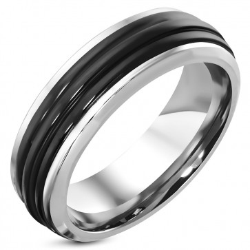 8mm | Stainless Steel 2-tone Ribbed Comfort Fit Half-Round Band Ring