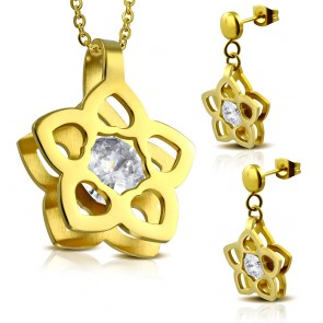 Gold Color Plated Stainless Steel Cut-out Flower Charm Pendant & Pair of Drop Stud Earrings w/ Clear CZ (SET)