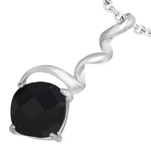 Fashion Alloy Crystal Square Twisted/ Corkscrew Pendant w/ Jet Black CZ