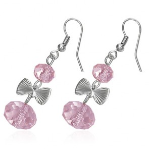 Fashion Alloy Pink Bead Bow Long Drop Hook Earring (pair)