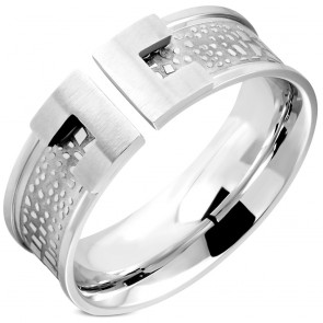 8mm | Stainless Steel Stone- Style Alphabet C Comfort Fit Wedding Band Ring
